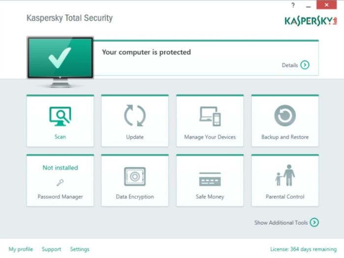 Kaspersky Antivirus Interface