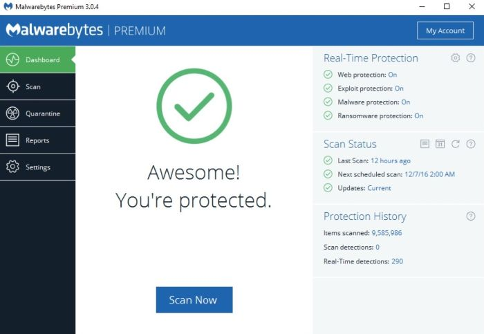 Malwarebytes Antivirus Interface