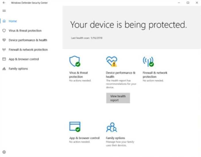 Windows Defender Antivirus Interface
