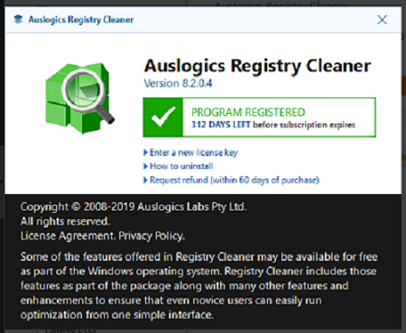 Auslogics Registry Cleaner Pro v8.2.0.4 about