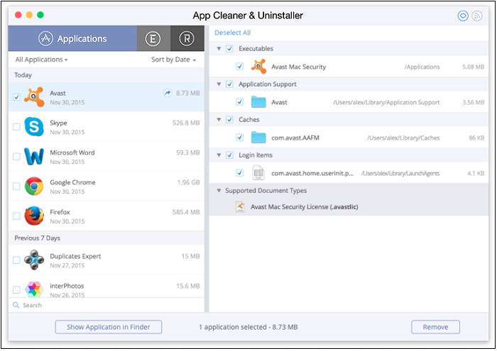 Uninstall Avast from Mac by app cleaner