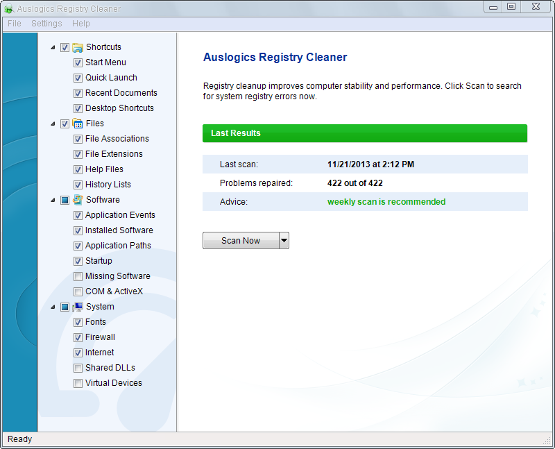 auslogic registry cleaner