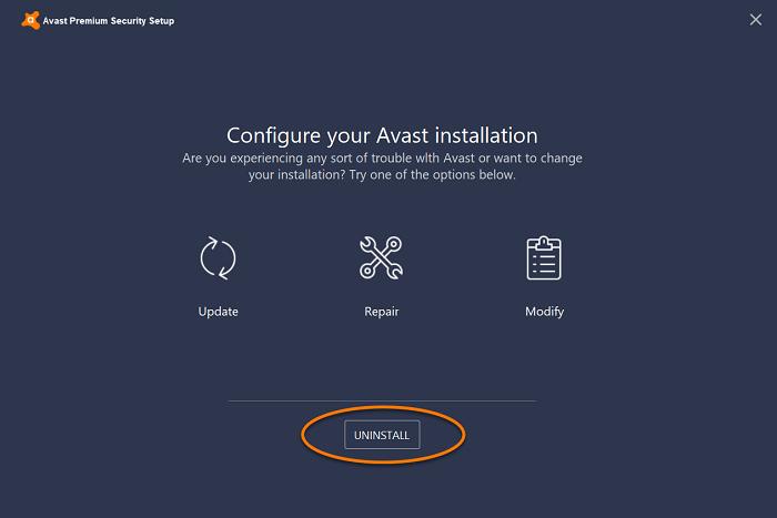 select uninstall from avast setup configuration