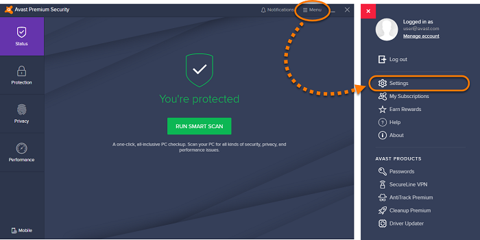 click on setting from avast menu