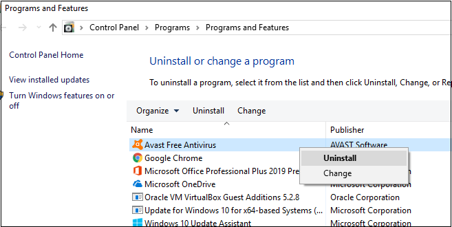 click on avast to uninstall from program and features