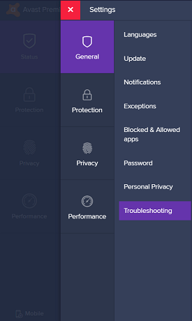 click on troubleshoot from settings