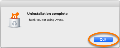 complete uninstallation-select quit