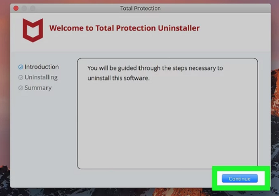 click continue to confirm uninstall mcafee