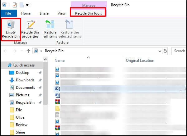 go to recycle bin manage to empty recycle bin