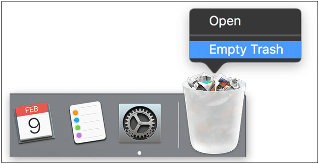 click on empty trash mac