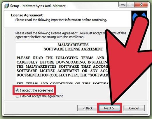 accept license for malware setup