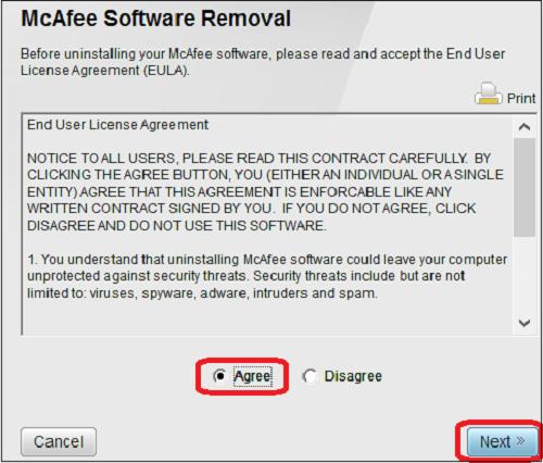 agree mcafee end user liscense
