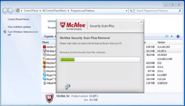 removal of mcafee programs
