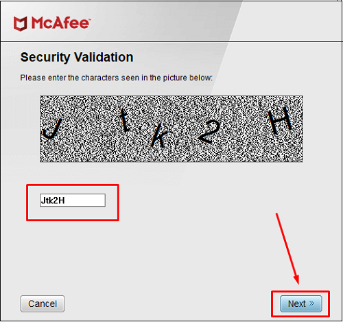 security vallidation code by mcafee