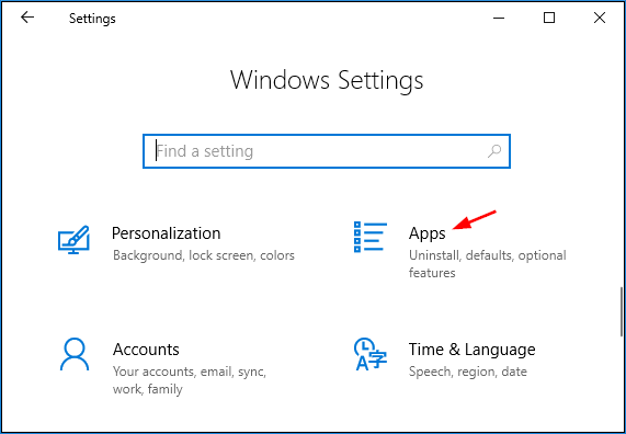 click on apps in windows setting